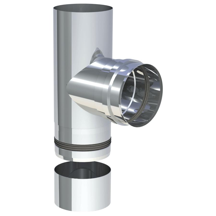 Pelletrohr T-Stück 90° mit abnehmbarer Kondensatschale Ø 80 mm - Edelstahl unlackiert