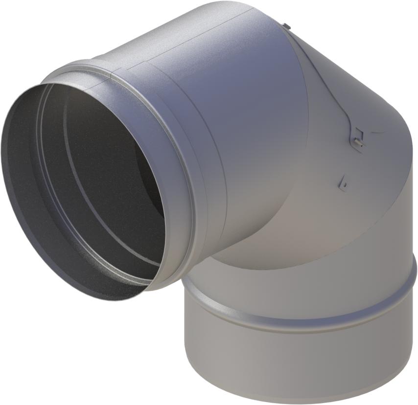 Bogen 90° mit Revisionsöffnung Ø 120 mm - einwandig Edelstahl MK