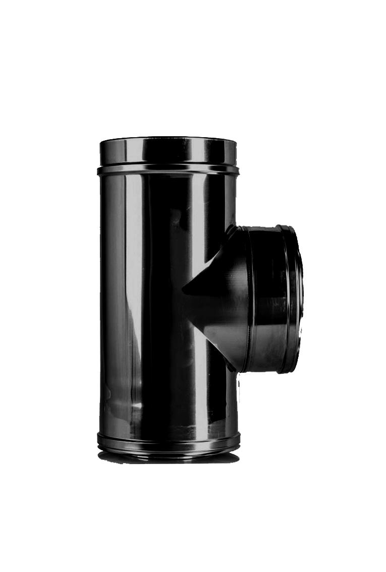 T-Stück mit Deckel DW Ø 150/200 mm schwarz - ISOTUBE Plus