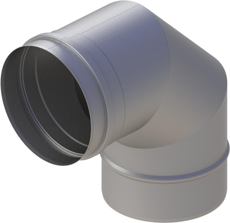 Bogen 90° Ø 120 mm - einwandig Edelstahl MK