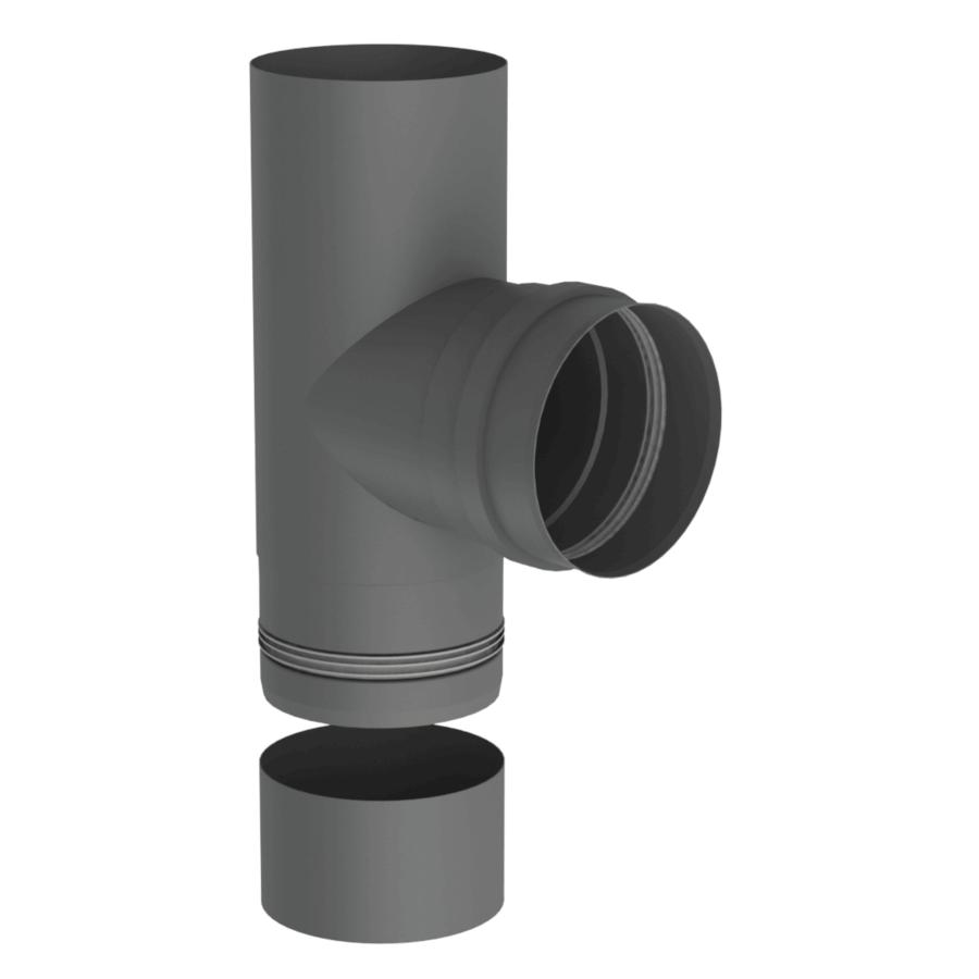 Pelletrohr T-Stück 90° mit abnehmbarer Kondensatschale Ø 80 mm - Edelstahl gussgrau