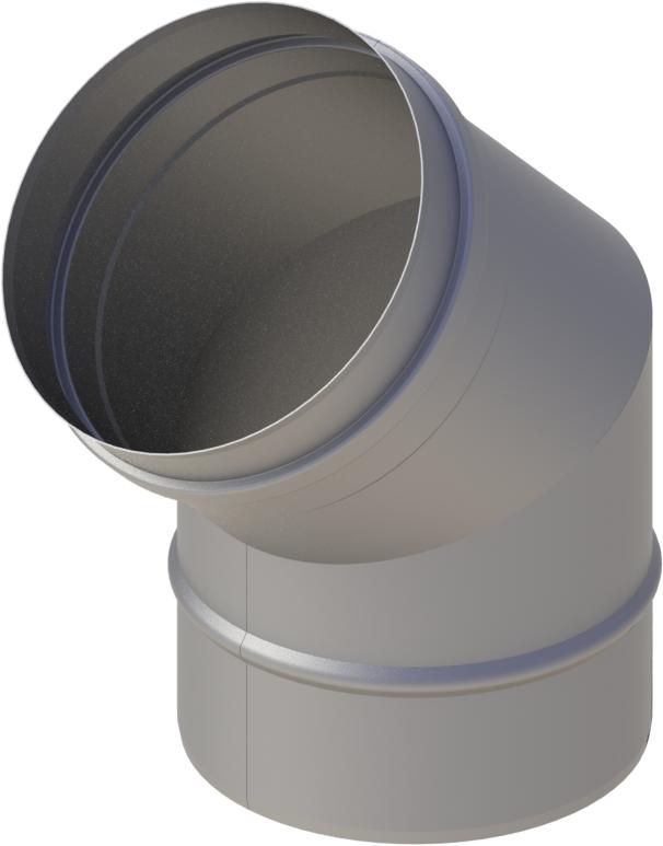 Bogen 45° Ø 120 mm - einwandig Edelstahl MK