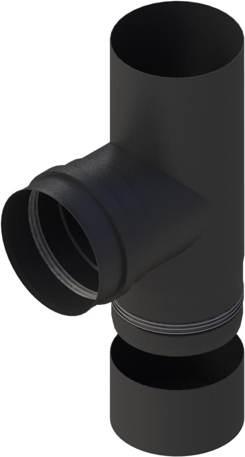 Pelletrohr T-Stück 90° mit abnehmbarer Kondensatschale  Ø 80 mm - Edelstahl schwarz