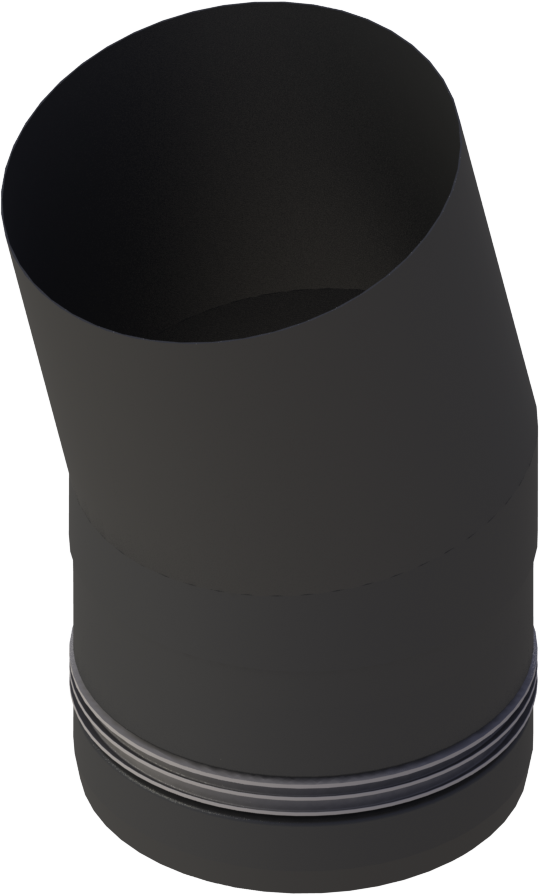 Pelletrohr Bogen 15°  Ø 80 mm - Edelstahl schwarz