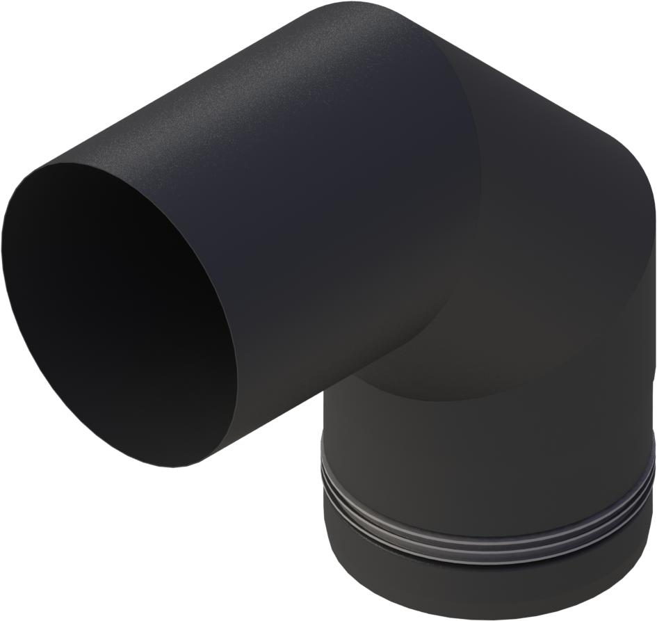 Pelletrohr Bogen 90°  Ø 80 mm - Edelstahl schwarz
