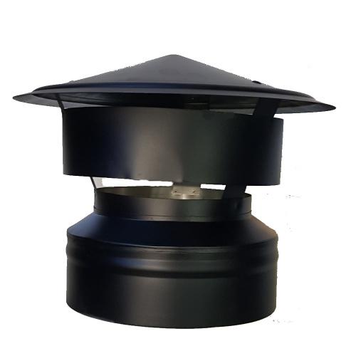 Regenhaube DW Ø 150/200 mm schwarz - ISOTUBE Plus