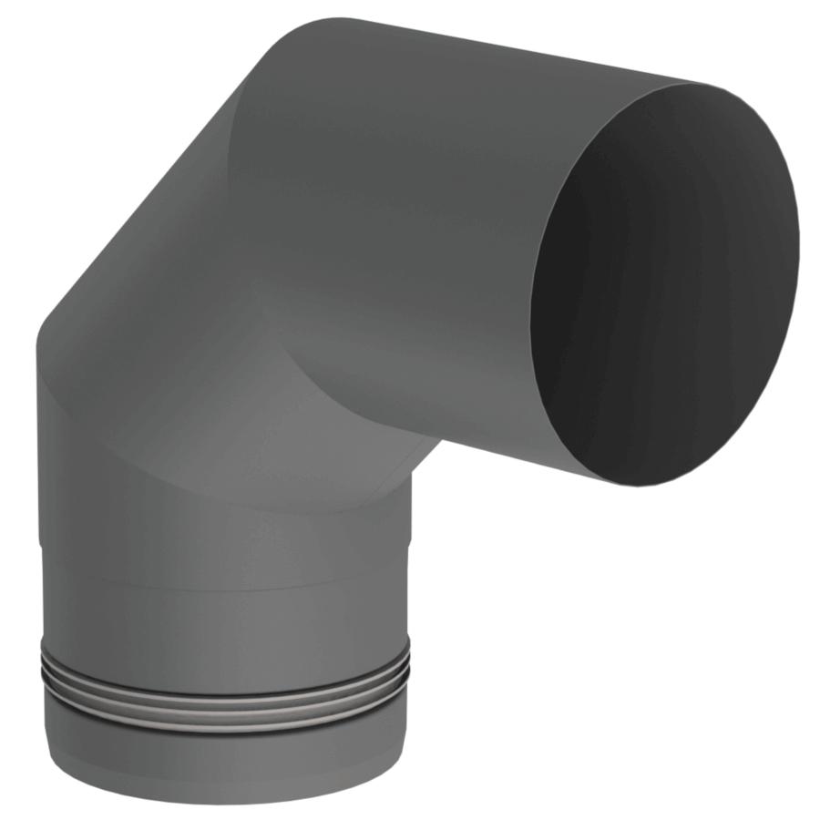 Pelletrohr Bogen 90° Ø 80 mm - Edelstahl gussgrau